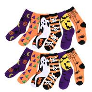 4-Packs (12 Pairs) Women's Halloween Theme Novelty Socks NVS625