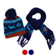 Kid's Winter Knitted Snowflake Reindeer Pom Beanie Scarf with Tassel  and Hat Set - KKWS1720