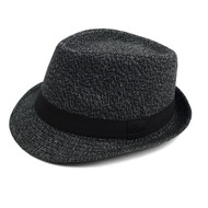 Fall/Winter Fedora Hat with Band Trim H171390-BLK