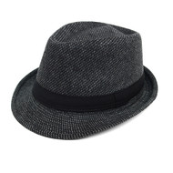 Fall/Winter Fedora Hat with Band Trim H171386-BLK