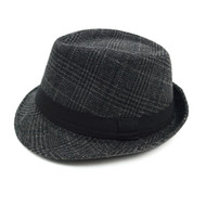 Fall/Winter Plaid Fedora Hat with Band Trim H171360-BLK