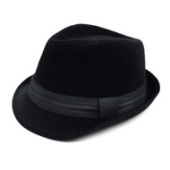 Fall/Winter Velvet Fedora Hat with Band Trim H171226-BLK