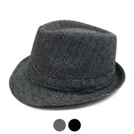 Fall/Winter Herringbone Fedora Hat with Band Trim H171388