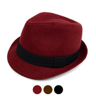 Fall/Winter Felt Fedora Hat With Band Trim H171222