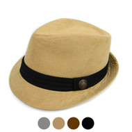 Fall/Winter Suede Fedora Hat with Button Accent & Band Trim H171223