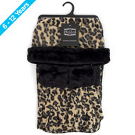 6pc Pack Junior's (6-12 Years Old) Fleece Leopard Print with Fur Trim Winter Set WSET91JR