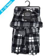 6pc Pack Junior's (6-12 Years Old) Gray Plaid Fleece Winter Set WNTSET1002-BK-JR