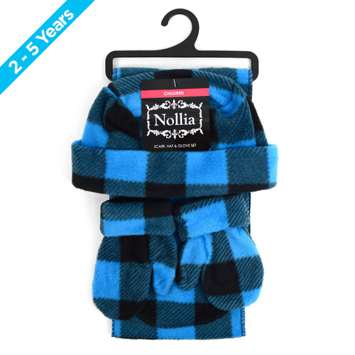 6pc Pack Toddler's (2-5 Years Old) Fleece Azure Plaid Winter Set WSET8020-BLU-CH