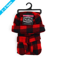 6pc Pack Toddler's (2-5 Years Old) Fleece Red Plaid Winter Set WSET8020-RED-CH