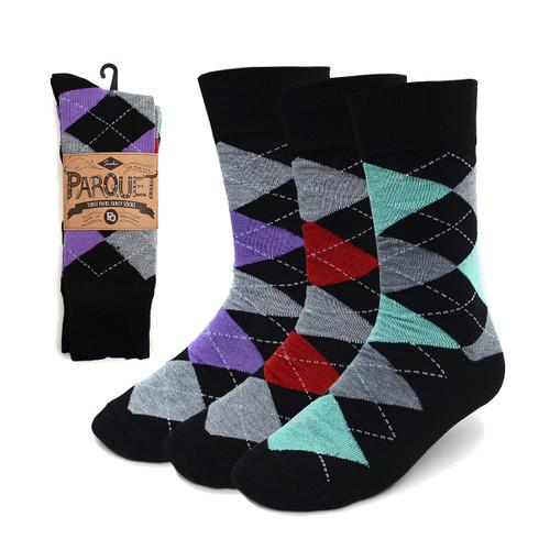 Assorted Pack (3 Pairs) Men's Argyle Socks 3PKS-MC611-1