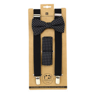 3pc Men's Black Clip-on Suspenders, Dotted Squares Bow Tie & Hanky Sets FYBTHSU-BK2