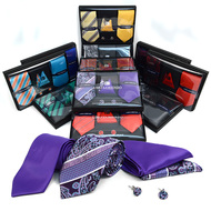 12pc Assorted Pack Tie, Hanky & Cufflink Set THCX12