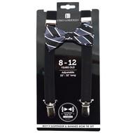 Boy's Black Clip-on Suspender & Striped Bow Tie Set(8~12 Years) BSBS812BLK4