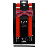 Boy's Red Clip-on Suspender & Neat Bow Tie Set(8~12 Years)
