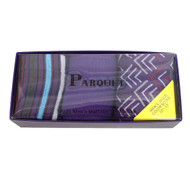 Fancy & Solid Colored 3 Pairs Socks Gift Box-Purple