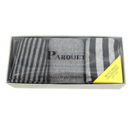Fancy & Solid Colored 3 Pairs Socks Gift Box-Grey