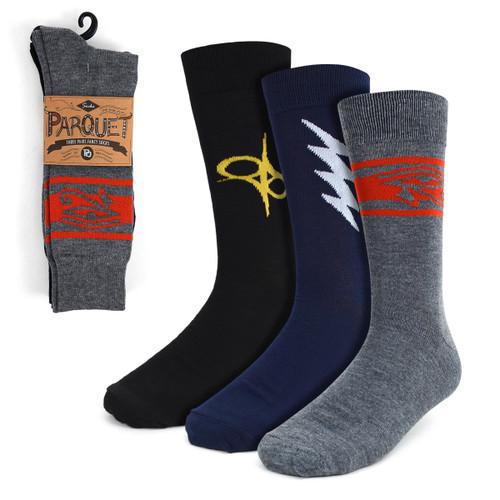 Assorted Pack (3 Pairs) Men's Ancient Symbols Crew Socks 3PKS-MC019