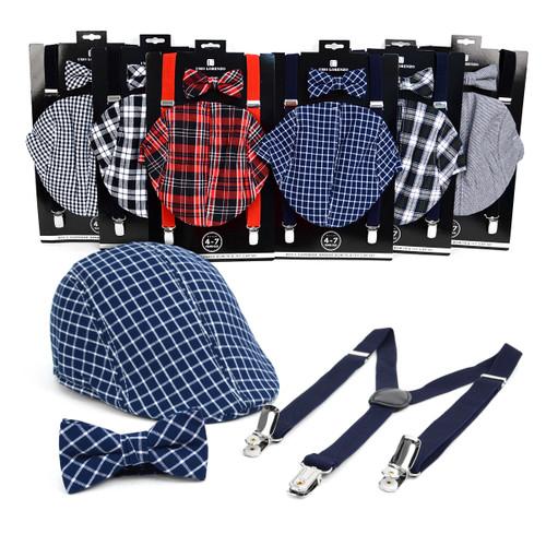 6pc Assorted Boy's (4~7 years) Ivy Hat, Bow Tie & Suspender Set - BSBIV0807