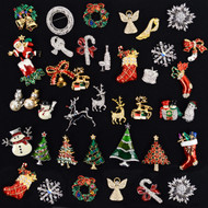 48pc Random Assorted Holiday Theme Brooches - HD48ASST