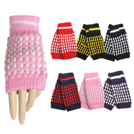 60pc Random Assorted Women's Knit Fingerless Gloves GL1302-60ASST