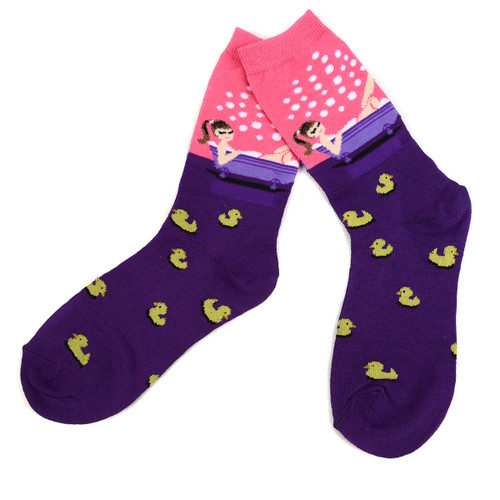4-Packs (12 Pairs) Women's Rubber Ducky Novelty Socks