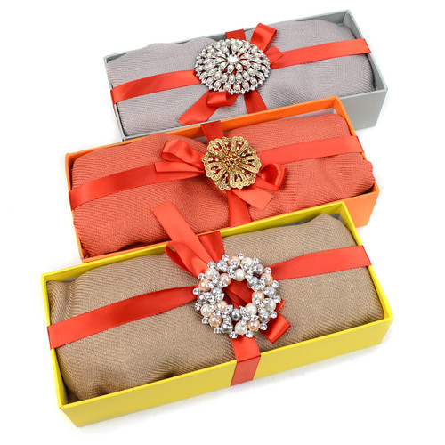 8-Boxes Women's Pashmina Scarf & matching Brooch Holiday Gift Set Scarf/Brooch2