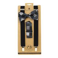 3pc Men's Black Clip-on Suspenders, Plaid Bow Tie & Hanky Sets FYBTHSU-BK5