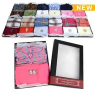 12-Boxes Women's Pashmina Scarf, Fashion Scarf & Matching Brooch Gift Set - WSSG12ASST