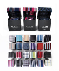 24 Pack Assorted Skinny Poly Tie, Hanky & Cufflink Set PWFB2000