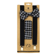 3pc Men's Black Clip-on Suspenders, Plaid Bow Tie & Hanky Sets FYBTHSU-BK7