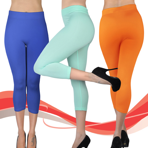 Women's Solid Capri Leggings