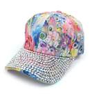 Bling Studs Light Pink Flower Baseball Cap