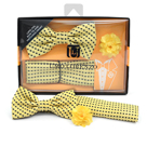 Dotted Banded Bow Tie, Matching Hanky & Yellow Lapel Pin Set BTHLB07061