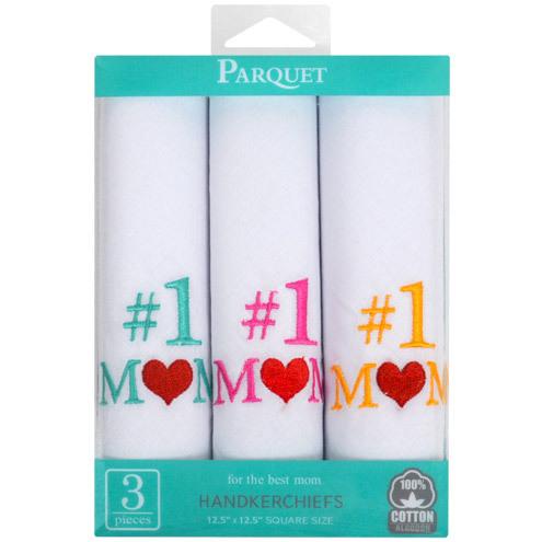 #1 Mom 3pcs Cotton Embroidered Handkerchiefs