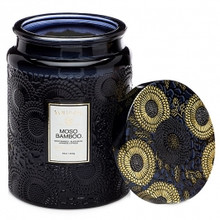 Voluspa Japonica Collection Moso Bamboo Limited Edition Large Embossed Glass Jar Candle