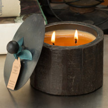 Himalayan Trading Post Moonlight 2-Wick Small Dark Wooden Barrel Candle