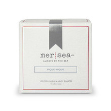 Mer Sea Pique Nique Boxed Candle With Agate Coaster