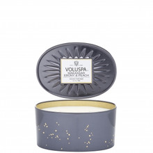 Voluspa Vermeil Collection Makassar Ebony & Peach 2-Wick Oval Decorative Tin Candle