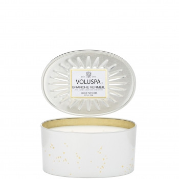 Voluspa Vermeil Collection Branche Vermeil 2-Wick Oval Decorative Tin Candle