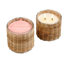 Hillhouse Naturals Coconut Rose 2-Wick Woven Candle