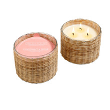 Hillhouse Naturals Coconut Rose 3-Wick Woven Candle