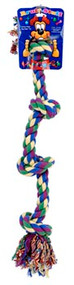 Dog Life 4-Knot Rope Dog Toy Multi-Color - Large 29 Inch