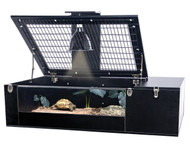 Penn Plax Tortoise Palace with Wire Top Black Frame and Glass Terrarium