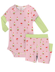 Garden Gnomes Infant Two-Fer Rib Romper and Pant Set
