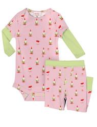Garden Gnomes Infant Two-Fer Rib Romper and Pant Set
