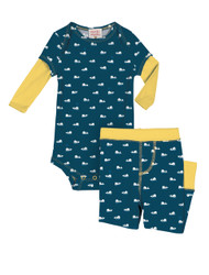 Teeny Whales Infant Two-Fer Rib Romper and Pant Set