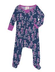 Sock Monkey Infant Zip Front Rib Blanket Sleeper