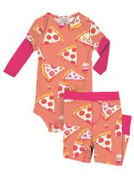 Pizza Night Infant Two-Fer Rib Romper and Pant Set