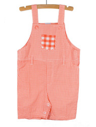Gingham Overalls Red