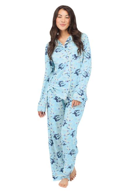 Bird Wallpaper Jersey Long Sleeve Classic PJ Set